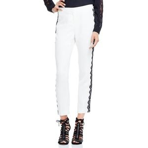Vince Camuto White Black Lace Trim Pants Size14